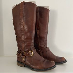 Knee High Riding Moto Boots with Buckles